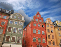 Architecture. Medieval houses on Stortorgsbrunnen square in Stockholm, Sweden Royalty Free Stock Images