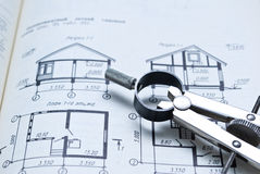Architecture. Architectural plan and tool on the table Stock Photos