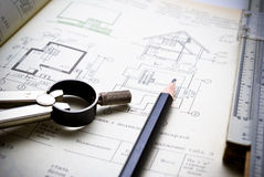 Architecture. Architectural plan and tool on the table Royalty Free Stock Image
