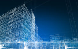 Architecture abstract blueprint. Wireframe render royalty free stock photography