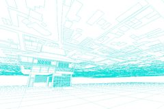 Architecture abstract, 3d illustration,Architecture drawing Stock Photo