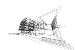 Architecture abstract, 3d illustration, building structure commercial building design Royalty Free Stock Photo
