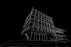 Architecture abstract, 3d illustration, building structure commercial building design Stock Photo