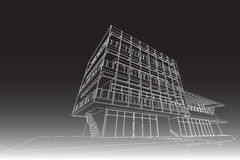 Architecture abstract, 3d illustration, building structure commercial building design Royalty Free Stock Photos