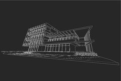Architecture abstract, 3d illustration, building structure commercial building design Royalty Free Stock Images