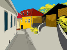 Architecture abstract sketch. Of a small village Royalty Free Stock Images