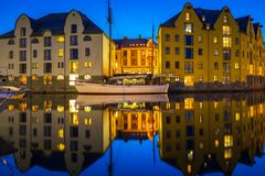 Architecture of Alesund town at night. In Norway Stock Photography