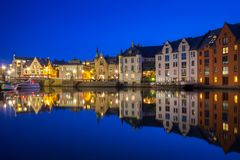 Architecture of Alesund town at night. In Norway Royalty Free Stock Images