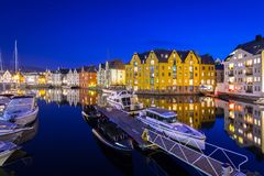 Architecture of Alesund town at night. In Norway Stock Images