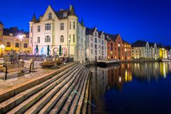 Architecture of Alesund town at night. In Norway Royalty Free Stock Photography