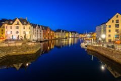 Architecture of Alesund town at night. In Norway Royalty Free Stock Photo