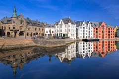 Architecture of Alesund town in Norway Royalty Free Stock Photo