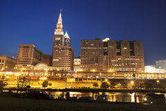 Architecture along Cuyahoga River in Cleveland Stock Photography