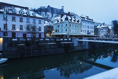 Architecture along Ljubljanica River Stock Photos