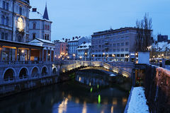 Architecture along Ljubljanica River Stock Photography
