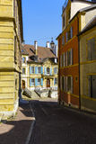 Architecture along the narrow streets in Neuchatel Royalty Free Stock Photos