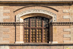 Architecture ancient arched window. With railings. stock image