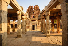 Architecture of ancient ruins of temple in Hampi Stock Photo