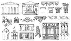 Architecture And Ornaments Set Royalty Free Stock Image