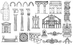 Architecture And Ornaments Vector Set Royalty Free Stock Photography