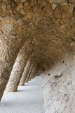 The Architecture of Antonio Gaudi inside Park Guell.  royalty free stock photos