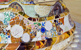 Architecture Antonio Gaudi in Park Guell, Barcelona. Royalty Free Stock Photos