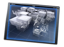 Architecture app. 3D rendering of a tablet pc with an architecture model, partly finished and partly with wireframe stock image