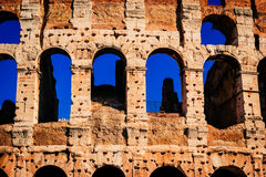 Architecture and arches of the Colosseum in Rome, Italy royalty free stock image