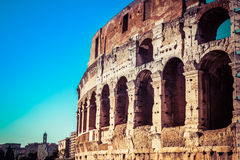 Architecture and arches of the Colosseum in Rome, Italy stock photography