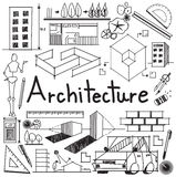 Architecture and architect design building exterior doodle icon Stock Photography