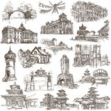 Architecture around the World - An hand drawn pack. Freehand col Royalty Free Stock Photos