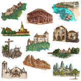 Architecture around the world - an hand drawn pack Royalty Free Stock Photo