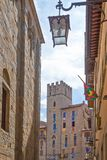 The architecture and the art of the city of Arezzo stock photos