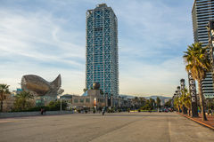 Architecture and art-objects at the Olympic Harbour. Royalty Free Stock Photo