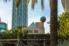 Architecture and art-objects at the Olympic Harbour. Located east of the Port of Barcelona Royalty Free Stock Photography