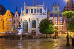 Architecture of Artus Court in Gdansk at night, Poland. Stock Images