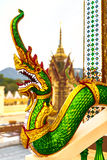Architecture Of Asia. Oriental Dragon Sculpture In Buddhist Temp Stock Image