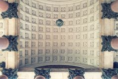 Architecture backgorund, colonnade capitals and ceiling of the St Isaac Cathedral in St Petersburg, Russia Stock Photo