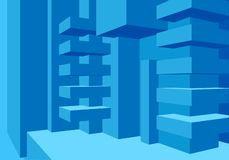 Architecture background with abstract cubes composition and clean minimalistic style royalty free illustration
