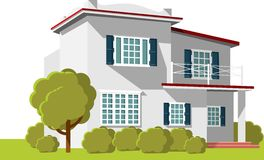Architecture background with family house. Architecture concept with two-storey family house building in perspective royalty free illustration