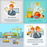 Architecture banner set, cartoon style Stock Photography