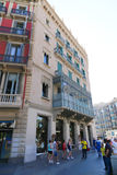 Architecture of Barcelona. Aug. 19 2014 Tourists stroll and enjoy bus trip at Barcelona, Spain stock images