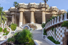 Architecture Barcelona Gaudi. Entrance in ceramic Parc Guell designed by Antoni Gaudi located on Carmel Hill, Barcelona, Spain stock image