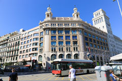 Architecture of Barcelona. Tourists stroll and enjoy at Barcelona, Spain royalty free stock photo
