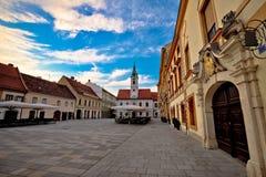 Architecture baroque de Varazdin au centre de ville Photographie stock