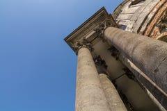 Architecture of baroque Roman Catholic Church of the Exaltation and St. Joseph stock image