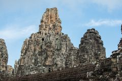 An architecture of Bayon face at Bayon Castle in Siem Reap, Camb. View of an architecture of Bayon face at Bayon Castle in Siem Reap, Cambodia royalty free stock image