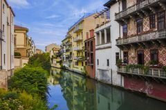 The Architecture Of Beautiful Italian City Padua Houses And Water Channel Royalty Free