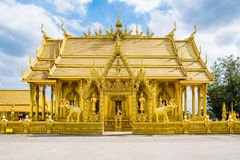 Architecture beautiful temple all gold color with blue sky Stock Image