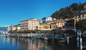 Architecture of beautiful town, locate at coast of Como lake. BELLAGIO, ITALY - DECEMBER 2017: Architecture of beautiful town, locate at coast of Como lake Stock Photography